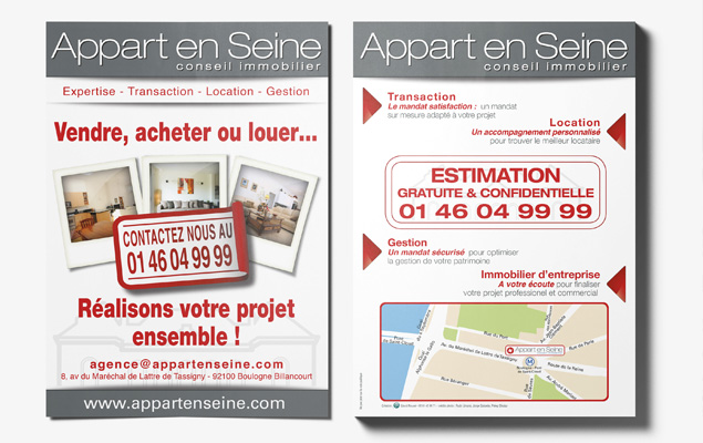 Flyers agence immobiliere for Annonce location immobiliere